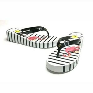 Kate Spade Remmie Flamingo Striped Wedge Sandals